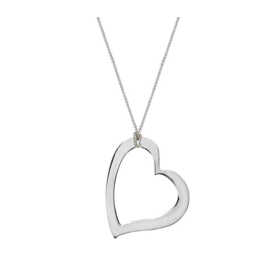 Chain with large open heart pendant in sterling silver birks chain with large open heart pendant in sterling silver mozeypictures Gallery