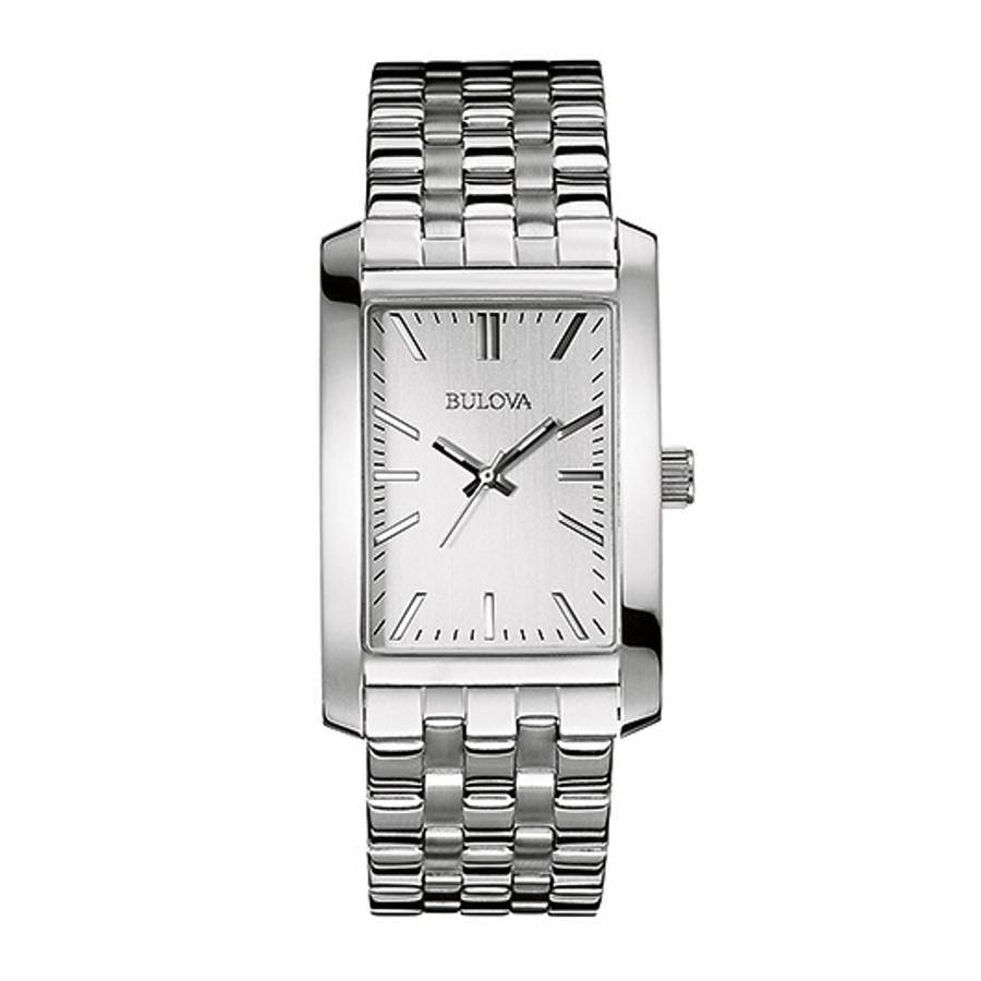 Men S Rectangle Stainless Steel Watch Silver Bulova