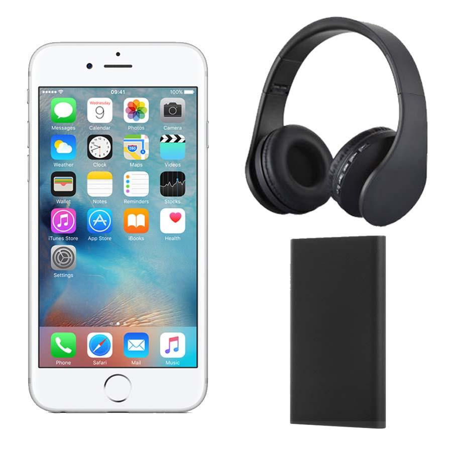 Iphone 6s Plus 128gb With Headphones And Power Bank Silver Apple